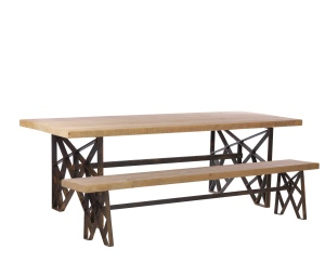 Cast Iron Geometric Table Side View With Bench & Right Leg_1236 copyHR (1)